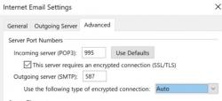 This is in Outlook under More Settings and on the Advanced tab. For those who have email on our servers there is a change/upgrade in security. You must turn ON SSL/TLS for the Incoming Server (POP3). If you have a setting (Outlook) to use SSL (accept all certificates) that seems to work best on Outlook.