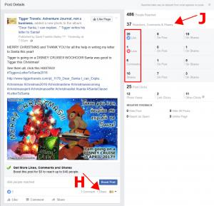 "Click to enlarge image  First, notice the ""Reactions, Comments & Shares"" marked J. You can see that if you add up the numbers in the red box it will total 37. That 37 is a total of all activity on that post but not necessarily what you can see on the page. This can pose some confusion so the next few images make that clearer, hopefully! - Information on FACEBOOK Business Page Stats, Reach and more. -"