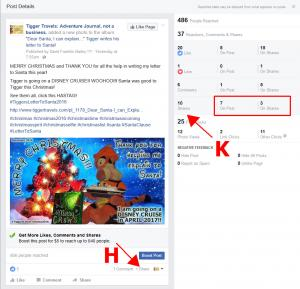 Click to enlarge image Looking specifically at the SHARES on this post. The first thing to notice is that the SHARES marked H are not equal to the SHARES marked K. Here is why! The SHARES marked H that you see within your page's posts are the SHARES that you have permission to see. It is possible for a person to share this post to their private TIMELINE or a PRIVATE GROUP that you do not have permission to see! Those shares are included in the total marked K and the FIRST number in the red box. You may not be able to go view those posts but they DID happen! That means someone expanded the REAH of that post to all their FRIENDS or MEMBERS of their PRIVATE GROUP.We can see that this post was REALLY shared 7 times! Not just the 1 share displayed at H. But wait... K says the post was shared 10 times! Look in the red box at the second number. SOMEBODY shared Tigger's followers post even further! That is THREE more groups of FRIENDS that saw this post! SHARES are MAGIC! SHARES are GOLD!!! At the time of this post, Tigger has over 500 followers so his post could potentially be seen by those 500+ people. Those SHARES mean that the post was SHARED to the friends of Tiggers followers. That means each of those SHARES extend to potential exposure to another 338 people (current avarage friends) for a total of 3,380 people. Of course, not everyone is on Facebook every day but of those nearly 4,000 people 486 people saw the post!!! - Information on FACEBOOK Business Page Stats, Reach and more. -
