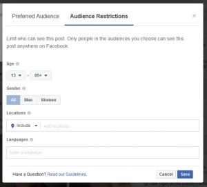 Image 3: Preferred audience here seems not to affect anything but DO NOT restrict anyone!! Image 3: Preferred audience here seems not to affect anything but DO NOT restrict anyone!! - Dangers of Restricting your Audience on your Facebook Business Page - Careful what you do with posts on your page.